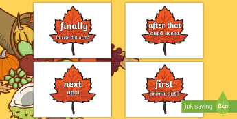 Time Conjunctions on Autumn Leaves English/Romanian -  time connectives, autumn, firstly, secondly, next, after, translation