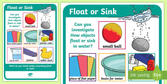 Science Floating and Sinking Investigation Prompt Display Poster - science, SESE, investigation, experiment, equipment, resources, open-ended, prompt question, procedu