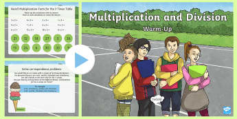 Year 3 Multiplication and Division Maths Warm-Up PowerPoint - KS2 Maths warm up powerpoints, Recall and use multiplication and division facts for the 3, 4 and 8 m
