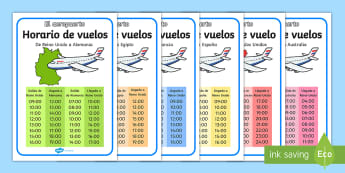Airport International Flight Timetable Display Posters Spanish - planes, travel, classroom, display poster, egypt, france, germany, australia, spain, hours, transpor