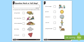 Question Mark or Full Stop? Differentiated Worksheet / Activity Sheet - GPS, punctuation, sentence, SPaG, worksheet