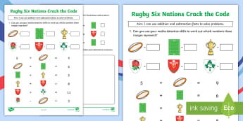 KS1 Rugby Six Nations Crack the Code Activity Sheet - Rugby Union, Sport, Maths, Numeracy, Calculations, problem-solving, worksheet