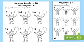 Number Bonds to 20 on Robots Worksheet / Activity Sheet English/Italian - Number Bonds to 20 on Robots Worksheet - number bonds, 20, robots, worksheet,number bondd, numberbon