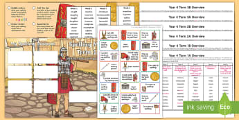 Year 4 Roman Themed Spelling Menu Pack - spag, gps, home learning, weekly, lists, test,