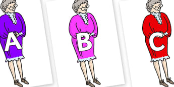 A-Z Alphabet on Mrs Phelps to Support Teaching on Matilda - A-Z, A4, display, Alphabet frieze, Display letters, Letter posters, A-Z letters, Alphabet flashcards