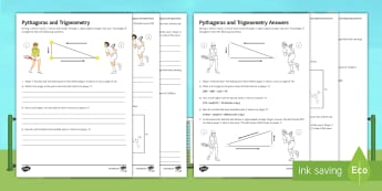 Wimbledon Pythagoras and Trigonometry Activity Sheet - triangle, angle, questionnaire, measurements, sin, cos, tan.
