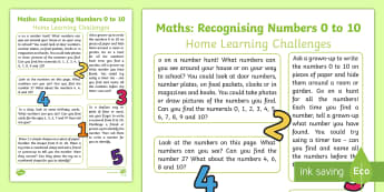 EYFS Maths: Recognises Numerals 0 to 10 Home Learning Challenges Home Learning Challenges - EYFS, Early Years, home school links, homework, Maths, Mathematics, 40-60 months, Number Recognition
