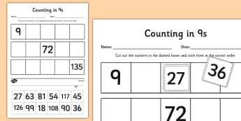 Counting in 9s Cut and Stick Worksheet / Activity Sheet - counting, count, cut and stick, activity, 9s, worksheet