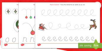 Christmas Pencil Control Activity - worksheet, motor, skills, pencil control, activity sheet