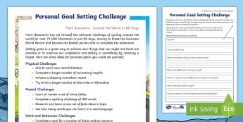 3-6 Around the World in 80 Days Personal Goal Setting Challenge Worksheet / Activity Sheet - Mark Beaumont, Around The World In 80 Days, Cycling, Challenge, World Record, worksheet, Australian