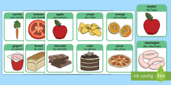 Healthy and Unhealthy Flashcards English/French - Healthy And Unhealthy Sorting Activity - food, sorting card, flashcards, sort, healthy, unhealthy, a