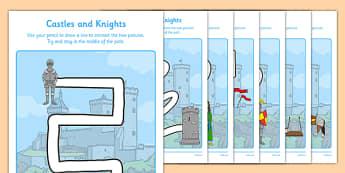 Castles and Knights Pencil Control Path Worksheet / Activity Sheet Pack - motor skills, worksheet