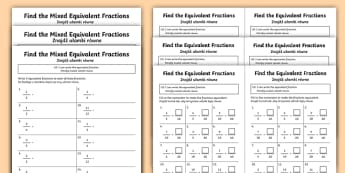 Find Equivalent Fractions Differentiated Worksheet / Activity Sheets English/Polish - fractions, equivalent, polish