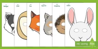 Woodland Animals Role Play Masks Arabic - Arabic/English  - Squirrel, hedgehog, badger, owl, fox, mouse, rabbit, Mole, EAL, Arabic.,Arabic-translation