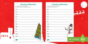 Christmas Alliteration Activity Sheets - alliterative, xmas, christmas writing, figurative language, worksheets