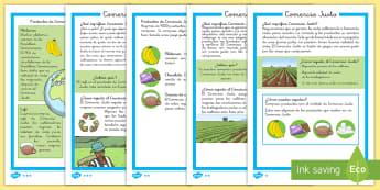 Hoja informativa: Comercio Justo - fairtrade, lectura, leer, comercio justo, comercio, información, informativo, informativa, Spanish