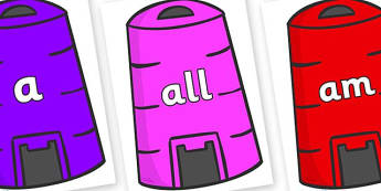 Foundation Stage 2 Keywords on Recycling Bins - FS2, CLL, keywords, Communication language and literacy,  Display, Key words, high frequency words, foundation stage literacy, DfES Letters and Sounds, Letters and Sounds, spelling