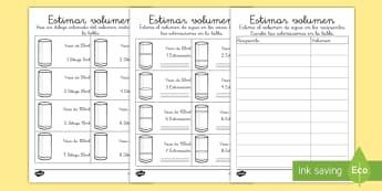 Ficha de actividad: Estimar volumen - CI - medida, capacidad, mates, medir medida, medir capacidad, lleno, vacio, comparación, comparación de