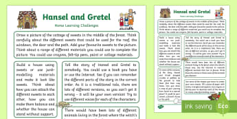 Hansel and Gretel Home Learning Challenges Reception FS2 - EYFS, fairy tale, traditional tale, Brothers Grimm, homework, home links, parents, carers