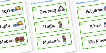 Green Themed Editable Construction Area Resource Labels - Themed Construction resource labels, Label template, Resource Label, Name Labels, Editable Labels, Drawer Labels, KS1 Labels, Foundation Labels, Foundation Stage Labels