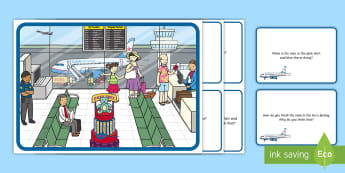 Airport Scene and Question Cards - questions, comprehension pack,comprehesion,comprehnsion,comprehention, comprehenshion, travel, plane