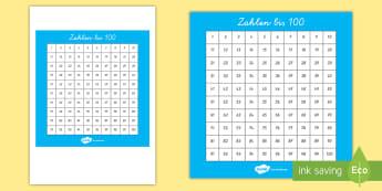 Zahlen bis 100 Poster für die Klassenraumgestaltung - zählen, Nummer, Einer, Zehner, Übersicht, Mathe,,German