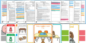 EYFS Maths: Can Describe Their Relative Position Such as 'Behind' or 'Next To' Adult Input Planning and Resource Pack - Early Years planning, Adult Led, prepositions, 40-60 months, Maths, Mathematics, Shape, Space and Me