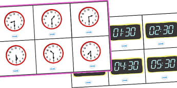 Analogue and Digital Half Past Time Bingo - Time bingo, analogue, digital, time game, Time resource, Time vocaulary, clock face, Oclock, half past, quarter past, quarter to, shapes spaces measures, numeracy, time, clocks, analogue, digital, bingo
