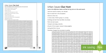Urban Issues Clue Hunt 1 Activity Sheet - Urban Issues and Challenges AQA GCSE, match, worksheet