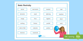 Edexcel Physics Static Electricity Word Mat - Word Mat, edexcel, gcse, physics, static, electricity, electrons, friction, charge, positive charge,
