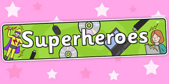 Superheroes Themed Banner - superhero, header, display