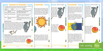 3-6 Summer in Australia Differentiated Reading Comprehension Activity - Seasons, Australia, Summer, weather, reading, comprehension, fact file, factsheet,Australia
