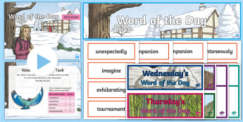 Year 4 Autumn 2 Word of the Day Display Pack - vocabulary, spelling, grammar, punctuation, writing.