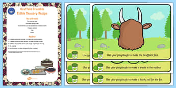 Playdough Recipe And Mat Pack to Support Teaching on The Gruffalo - EYFS, malleable, Julia Donaldson, Fine Motor skills, gruffalo, story, book, malleable, fine, motor, control