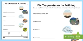 Temperature Adjectives Activity Sheet German - Spring, Temperature, Adjectives, weather, seasons, German