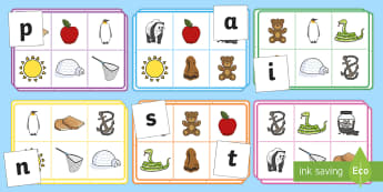 Phonics Bingo Picture Matching Game Set 1 - phonics, bingo, match