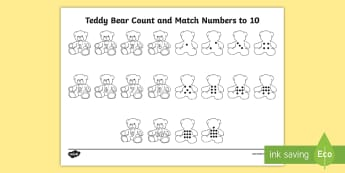 Teddy Bear Count and Match Numbers to 10 Activity Sheet - EYFS, Number, ELG, mathematics, early years,  activities, maths, small group work, Worksheet, interv