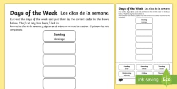 Days of the Week Cut and Stick Activity Sheet English/Spanish -  Worksheet, days, weeks, calendar, literacy, reading, fine motor, mathematical language, cutting, ca