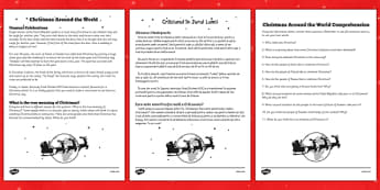 Christmas Around the World Comprehension Sheet Romanian Translation - festive, ks1, ks2, key stage 2, international, reading, understanding, facts, comparison, countries, nations, different
