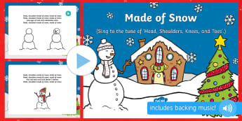 Made of Snow Song PowerPoint - The Snowman, Raymond Briggs, Christmas, winter, PowerPoint, singing, song time