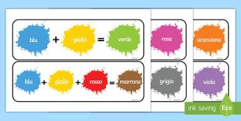 Mischia i Colori Pacco Poster - poster, mischia, mischiare, i colori, primari, secondari, italiano, italian, materiale, scolastico