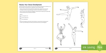 Dance Skills Reflection Colour Coding Worksheet / Activity Sheet  - dance review, colour in dance sheet, ks3 dance, pe dance, low ability, SEN, worksheet