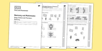 First Level Assessment - Symmetry - CfE, assessment, shape, symmetry