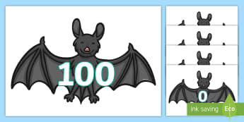 0 to 100 on Bats Cut-Outs - 0 to 100 on Bats - 0-100, number recognition, halloween maths, bats, animals, numbers, numerals, dis
