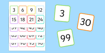 Multiples of 3 Flash Cards - multiples, counting, times table, count, multiplication, division, flash cards, 3