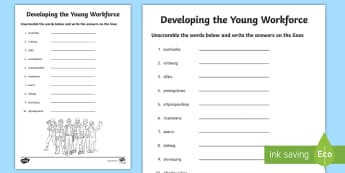 World of Work Word Unscramble - Scramble, anagrams, reading, keywords, vocabulary, Developing the young workforce
