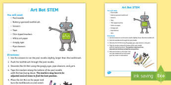 Art Bot STEM Activity - STEM, Art Bot, build a robot, inventions, inventing, STEM Activity
