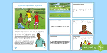 Friendship Problem Scenario Football Fallout Activity Sheet - Transition, Emotions, Behaviour, PSHCE, Change, Anger, Relationships, Bullying, worksheet