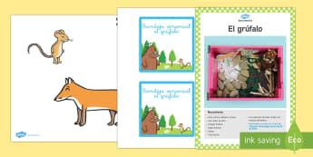Pack de recursos: zona sensorial -  El grúfalo - sentidos, tocar, descubrir con los sentidos gruffalo, espanol