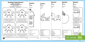 Reading Comprehension Seven Key Words Activity Sheet Pack English/Romanian